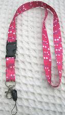 """Pink White Purple Stars Design 15"""" Pink lanyard ID Holder + Mobile Devices-New!"""