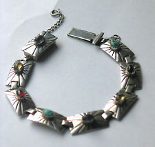 Native American / Mexican Silver Gemstone Set Bracelet Signed