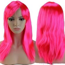 """20"""" Long Straight Full Head Wigs Prom Party Synthetic Fiber Hair Wig Dark Pink"""