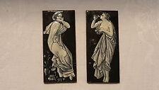 Black & white pair of vintage Art Nouveau enamel plaques – Limoges ?