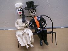 Day of the Dead Papier Mache Wedding Couple on Park Bench - Mexico