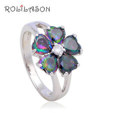 Beautiful Mystic Topaz Sterling Silver Plated Flower Ring Size R