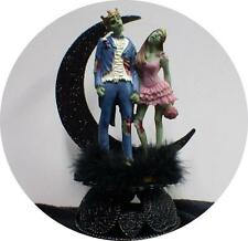 Zombie King Queen Halloween Wedding Cake Topper Funny Skeleton Bride Groom top