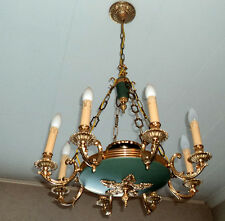 Wonderful 8-lights French EMPIRE Chandelier tole Green 1940's antique rare