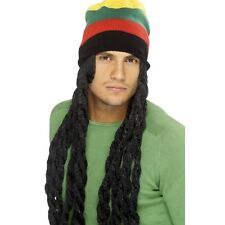 Mens Rasta Hat Wig Black Long Dreadlocks Jamaican Fancy Dress Marley Reggae Fun