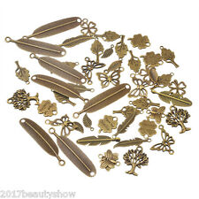 20PCs Bronze Tone Mixed Feather Butterfly Shape Pendants Fashion Charm Jewelry