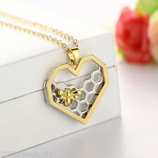 Silver Golden New Heart-shaped Bee Hive Pendant Necklace Mother's Day Gifts