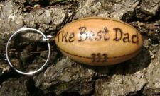 Wooden rugby ball keyring with your name or team engraved, made in Wales