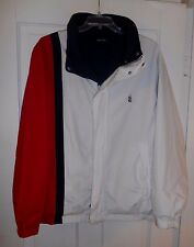 Nautica Sailing Jacket Vtg 90s Spell Out REVERSIBLE Roll Up Hood Mens XXL EUC