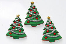 3 Decorated Christmas Tree Buttons / Jesse James Dress It Up Buttons / Flat Back