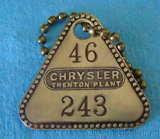 Vintage Tool Check Brass Tag: CHRYSLER ENGINE Michigan Factory w/ Keychain