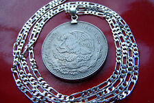 "Classic Mexican Eagle & Snake 20 Peso Coin on a 30"" 925 Sterling Silver Chain"