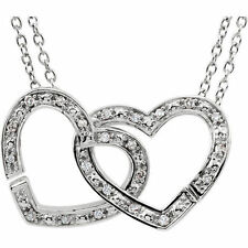 "Diamond 2-in-1 Interlocking Heart 18"" Necklace In Sterling Silver (1/6 ct. tw.)"