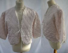 Vintage 1950s 60s Frilly Padded Bed Jacket House Coat Negligee Lace Pale Pink 40