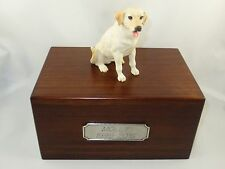 Beautifl Palownia Med Wooden Personalized Urn Yellow Labrador Retreiver Figurine