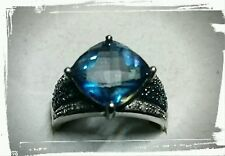 HARRY IVENS Ring 925 Sterling Silber Mystic Quarz Saphir RW 18