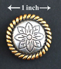 """Concho Lot Of 6 Antique Silver & Gold Round Rope Flower Western Leather 1"""" New"""