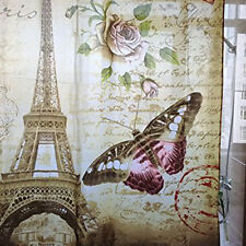 Paris Bathroom Shower Curtain New Eiffel Tower Butterfly Brown Waterproof 72''