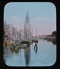Dutch Colour Glass Magic Lantern Slide Amsterdam Montalbaans Tower Netherlands