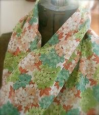 Antique Hydrangea Cottage Floral Cotton Fabric ~ Turquoise Aqua Lime Rust Peach