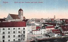 Sagan, Blick auf den Parchen und kath. Kriche Schlesien Postkarte 1915