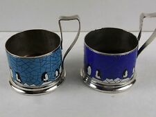 RUSSIAN Vtg USSR Enamel and Silverplate Tea Glass Cup Holders, Penguins