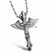Silver Stainless Steel Celtic Cross Angel Wings Pendant Necklace Men's Gift