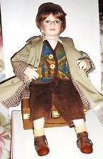 "20"" Porcelain Tuss Little Companion QUENTIN Doll with Suitcase by Wm. Tung"