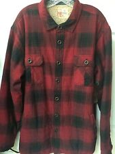 Ruff Hewn Mens Red Black Faux Sherpa Lined Flannel Shirt Jacket Size XL New