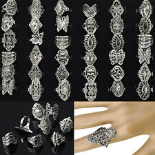 30pcs Wholesale Bulk Jewelry Lots of Mixed Style Tibet Silver Vintage Rings Gift