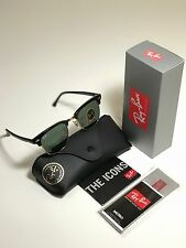 New Genuine Ray-Ban 3016 W0365 Black Frame Clubmaster Sunglasses 51mm