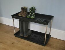 2 TIER LARGE WELLY MUDDY GARDEN SHOE WELLINGTON BOOT STORAGE TRAY RACK STAND