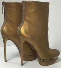 Brian Atwood Short Boot Gold Leather Platform Snake Trim Size 9 NEW