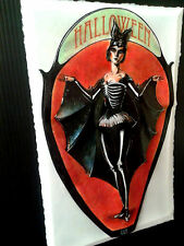 Halloween BatGirl Vintage Halloween art in 3-D Poster large size 11x17