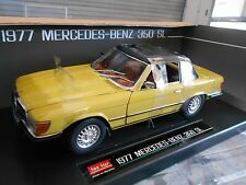 MERCEDES BENZ 350 SL R107 1977 Roadster Softtop gelb yellow Sunstar SST 1:18