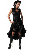 Women's Gothic Long Steampunk Victorian Damask Flock Print Black Dress Goth Emo
