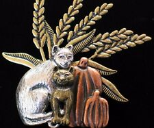 NWT PEWTER COPPER BRONZE FALL THANKSGIVING PUMPKIN WHEAT CAT KITTEN PIN BROOCH