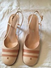 Pair Of Chanel Nude And Baby Pink Kid Leather Slingback Heels