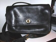 Vintage '89-90 COACH Black Leather Flap Turnlock Gusseted Crossbody Bag, USA