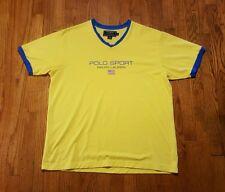 Polo Sport Ralph Lauren spell out V-neck ringer t shirt XL yellow blue flag VTG