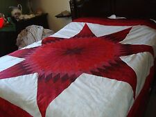 RED WEDDING STAR QUILT TOP - QUEEN SIZE - Not Quilted