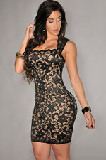 Black & Beige Lace Nude Illusion Scalloped Edge Evening Cocktail Party Dress M