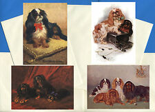 KING CHARLES ENGLISH TOY SPANIEL 4 VINTAGE STYLE DOG PRINT GREETING NOTE CARDS 1