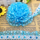 Hot 5 yards 2-Layer 30mm Sky Blue Organza Lace Gathered Pleated Sequined Trim