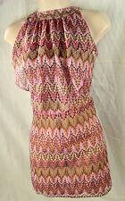RIVER ISLAND UK6 Pink&Brown Pinstripe/Paisley Frill Mini DRESS Embroidery Ruffle