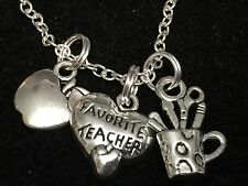 "Teacher My Favorite, Apple, Pencils Charm Tibetan Silver 18"" Necklace BIN"