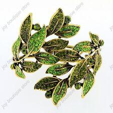Green crystal rhinestone leaf gold bracelet bangle fashion jewelry cuff woman