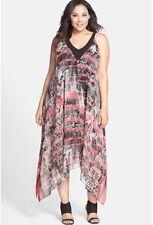 NWT ADRIANNA PAPELL Handkerchief Hem Chiffon Dress (Plus Size) sze 20W MRSP $160