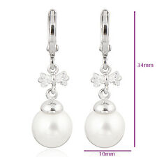9K White Gold Filled Clear CZ Pearl Drop Earring Womens Newest Design Fashion
