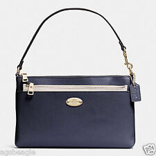 Coach Wristlet F53014 Cross Grain Pop Pouch Midnight Chalk Agsbeagle